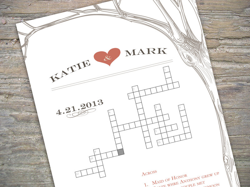 custom crossword printable for weddingbridal showerbaby shower