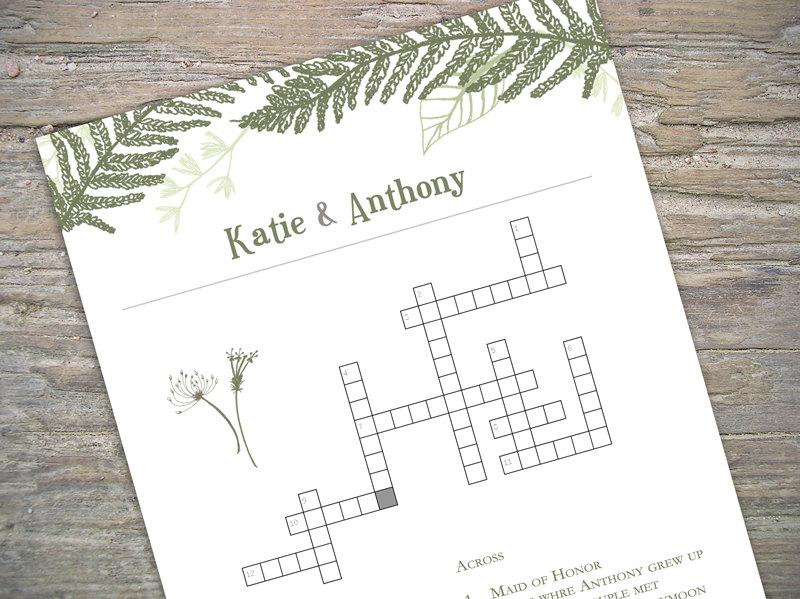 Custom Crossword   Printable For Wedding/bridal Shower/baby Shower
