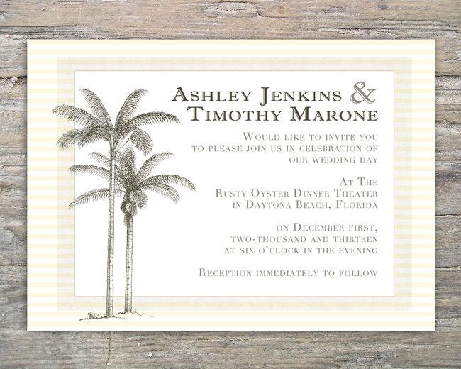Beach Invitation Palm Tree - Printable DIY for Wedding or Event
