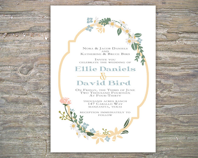 Penguin Book Cover Wedding Invitation Template ~ Floral rustic invitation printable diy for wedding or