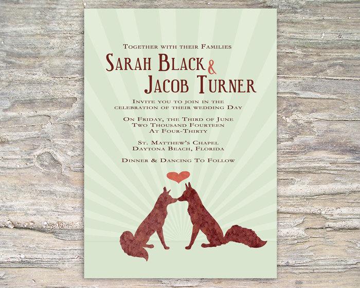 Rustic Fox Invitation - Printable DIY for wedding or event