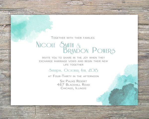 Printable Watercolor Invitation DIY For Wedding Or Special Event on