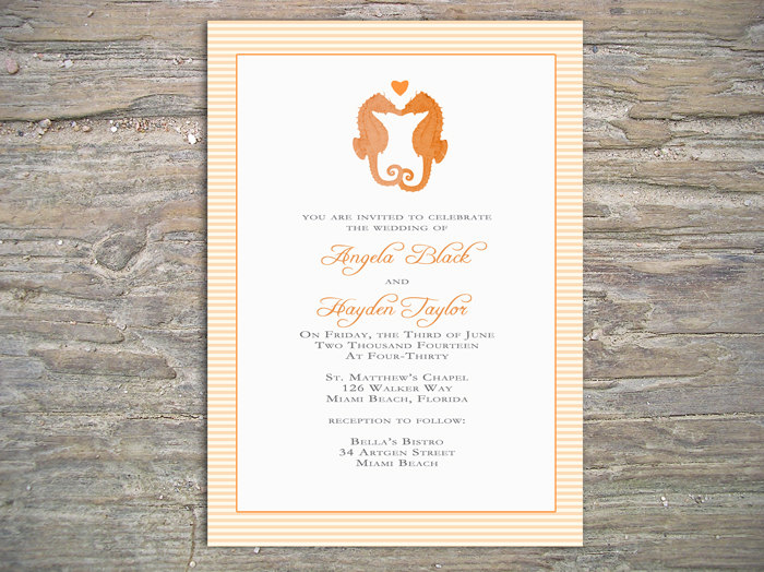 Seahorse Beach Invitation - Printable DIY for Wedding/Event