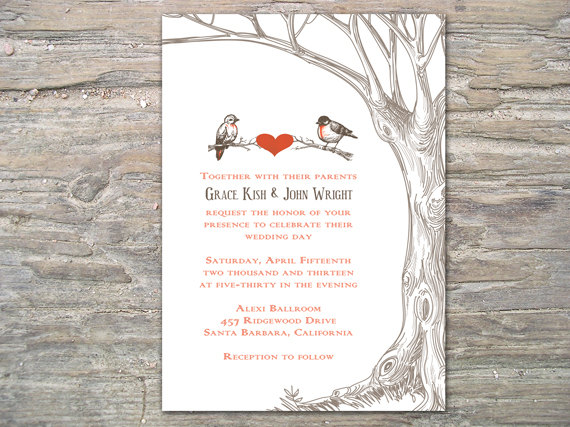 Bird Wedding Invitation: Rustic Tree And Birds Invitation