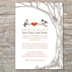 Rustic Tree and Birds Invitation - Printable DIY for wedding or event